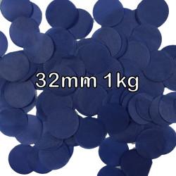 NAVY BLUE 32MM ROUND PAPER CONFETTI 1KG