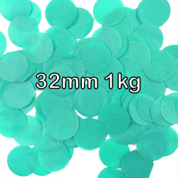 TURQUOISE 32MM ROUND PAPER CONFETTI 1KG