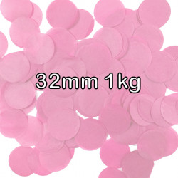 LIGHT PINK 32MM ROUND PAPER CONFETTI 1KG