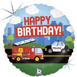 "EMERGENCY VEHICLE BIRTHDAY 18"" HOLOGRAPHIC PKT"