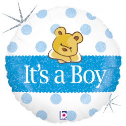 "BABY BEAR BOY 18"" HOLOGRAPHIC PKT"