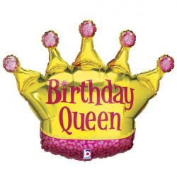 "CROWN BIRTHDAY QUEEN 36"" SHAPE C PKT"