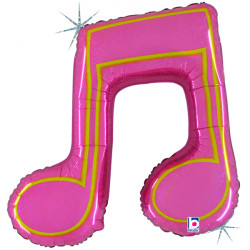 "MUSIC NOTE DOUBLE PINK 40"" SHAPE C PKT"