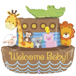 "NOAH'S ARK WELCOME BABY 37"" SHAPE F PKT"
