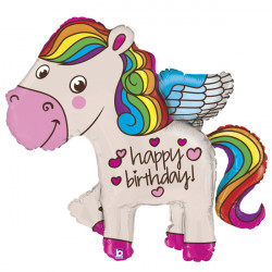 "RAINBOW PONY BIRTHDAY 45"" SHAPE G PKT"