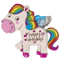 "RAINBOW PONY BIRTHDAY 45"" SHAPE G PKT"