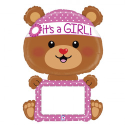 "BEAR BABY GIRL 48"" REMARKABLE SHAPE PKT"