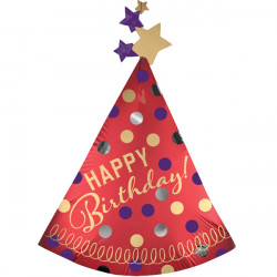RED PARTY HAT SATIN BIRTHDAY SHAPE P35 PKT