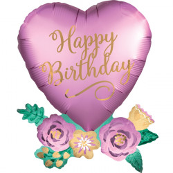HEART WITH FLOWERS SATIN BIRTHDAY SHAPE P35 PKT