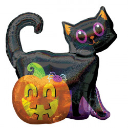 "BLACK CAT & PUMPKIN HOLO SHAPE P40 PKT (27"" x 28"")"