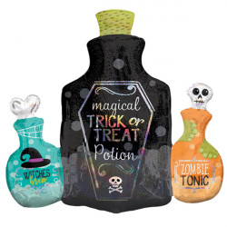 "POTION BOTTLES HOLO SHAPE P40 PKT (27"" x 28"")"