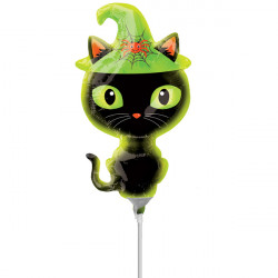 BLACK KITTY MINI SHAPE A30 INFLATED WITH CUP & STICK