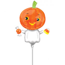 PUMPKIN GHOST MINI SHAPE A30 INFLATED WITH CUP & STICK