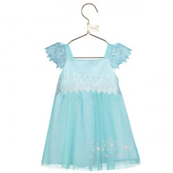 ELSA BABY AQUA LACE SMOCK DRESS 12-18 MONTHS