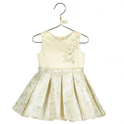 BELLE BABY PLEATED JACQUARD DRESS 12-18 MONTHS