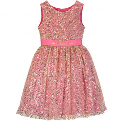 AURORA PINK & GOLD SEQUIN DRESS 3-4 YEARS