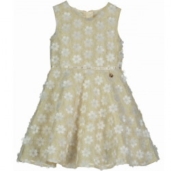 BELLE CREAM FLORAL WITH GOLD SHIMMER DRESS 5-6 YEARS
