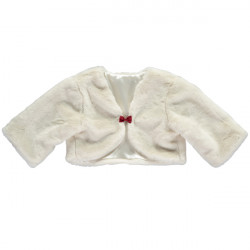 FAUX FUR SHRUG WITH MATCHING BOW 5-6 YEARS
