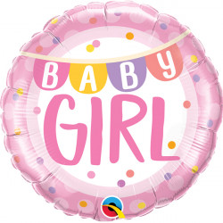 "BABY GIRL BANNER & DOTS 18"" PKT"