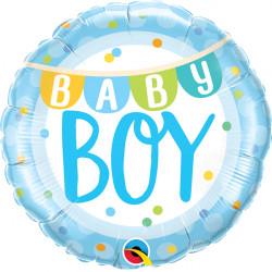 """BABY BOY BANNER & DOTS 18"""" PKT"""