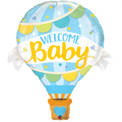 "WELCOME BABY BLUE BALLOON 42"" SHAPE GROUP B PKT"