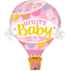 "WELCOME BABY PINK BALLOON 42"" SHAPE GROUP B PKT"