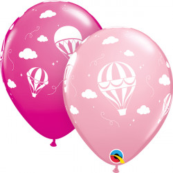 "HOT AIR BALLOONS 11"" PINK & WILD BERRY (25CT)"