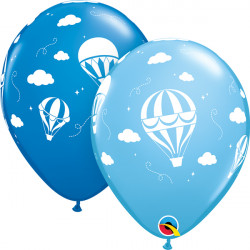 "HOT AIR BALLOONS 11"" PALE BLUE & DARK BLUE (25CT)"