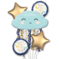 TWINKLE LITTLE STAR 5 BALLOON BOUQUET P75 PKT (3CT)