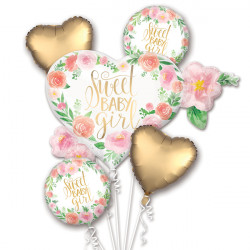 FLORAL BABY GIRL 5 BALLOON BOUQUET P75 PKT (3CT)