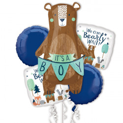 WE CAN BEARLY WAIT 5 BALLOON BOUQUET P75 PKT (3CT)