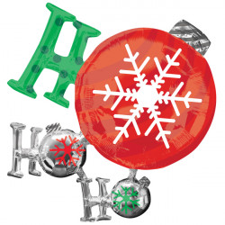 "HO HO HO ORNAMENTS SHAPE P35 PKT (35"" x 28"")"