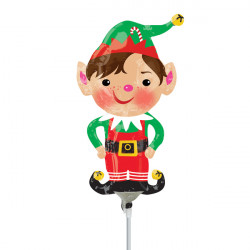 JOLLY CHRISTMAS ELF MINI SHAPE A30 INFLATED WITH CUP & STICK