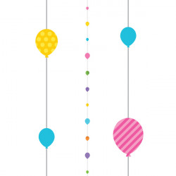 PURPLE CIRCLES 1.82m BALLOON FUN STRINGS