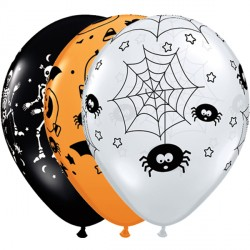 "SPOOKY ASSORTMENT 11"" ORANGE, ONYX BLACK & DIAMOND CLEAR (50CT)"