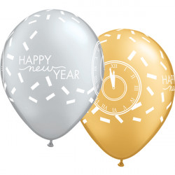 "CONFETTI COUNTDOWN NEW YEAR 11"" GOLD & SILVER (25CT)"