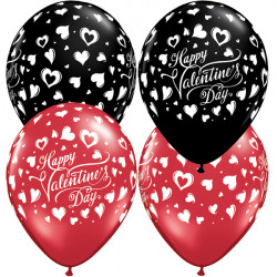 "CLASSIC HEARTS VALENTINE 11"" RUBY RED & ONYX BLACK (25CT)"