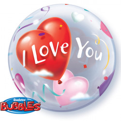 "HEART BALLOONS LOVE YOU 22"" SINGLE BUBBLE"