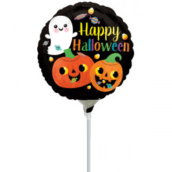 "HAPPY GHOST & PUMPKINS MINI 9"" A15 INFLATED WITH CUP & STICK"
