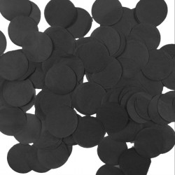 BLACK 2.5CM ROUND PAPER CONFETTI 100G