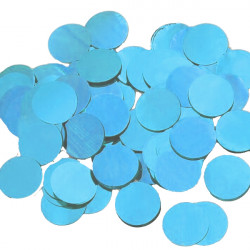 LIGHT BLUE 25MM ROUND METALLIC CONFETTI 100G