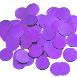 PURPLE 25MM ROUND METALLIC CONFETTI 100G