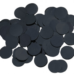 BLACK 25MM ROUND METALLIC CONFETTI 100G