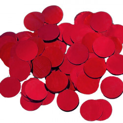 RED 25MM ROUND METALLIC CONFETTI 100G