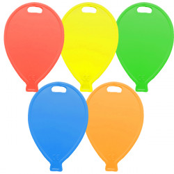 BRIGHT ASSORTMENT BALLOON SHAPE PLASTIC WEIGHT 100CT (BULK 10 BAGS)