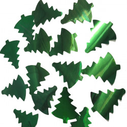 GREEN 35MM CHRISTMAS TREE METALLIC CONFETTI 100G