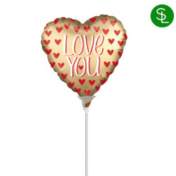 "GOLD SATIN LOVE YOU 9"" A15 INFLATED WITH CUP & STICK"