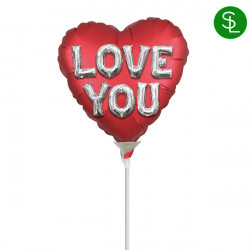 "BALLOON LETTERS SATIN LOVE YOU 9"" A15 INFLATED WITH CUP & STICK"