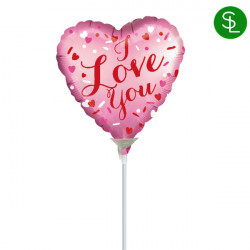 "CONFETTI HEARTS SATIN LOVE YOU 9"" A15 INFLATED WITH CUP & STICK"