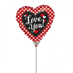 "HEART TO HEART LOVE YOU 9"" A15 INFLATED WITH CUP & STICK"